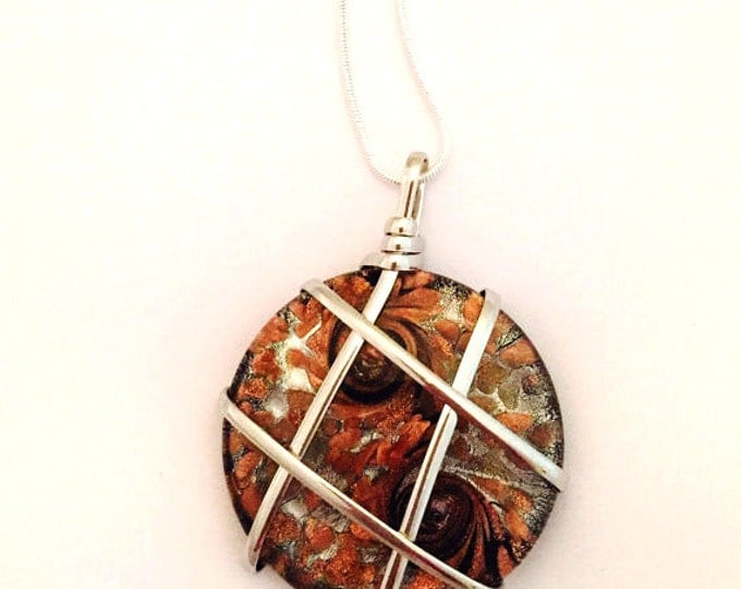 Blown Glass Pendant Necklace- Brown Glass-Wire Wrapped Glass Necklace on a Sterling Silver Chain 18 inch or 28 inch