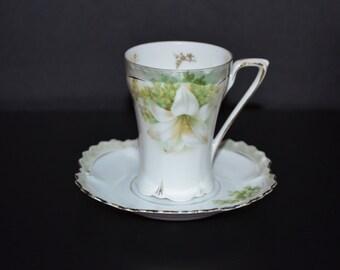 RS Prussia Porcelain Chocolate Cup & Saucer White Poppies Art Nouveau Cottage Chic Decor
