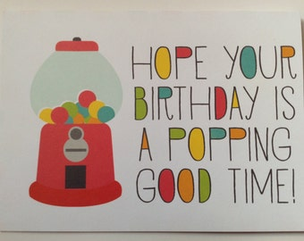 Happy Birthday Card - Gumball Birthday Card - Birthday Card