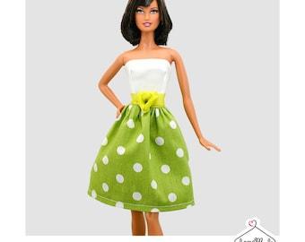 Barbie Dress -White/Green Polka Dot Dress -Handmade Barbie Clothes by Lovemade- Fashion Doll Clothes