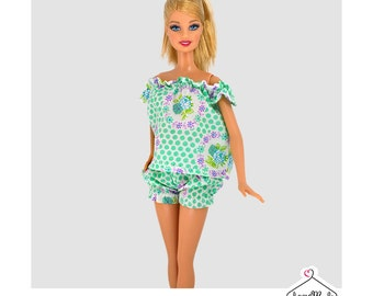 Barbie Babydoll Set- Handmade Barbie Clothes by Lovemade- Fashion Doll Clothes-Dolls Sleepwear