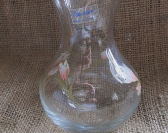 Vintage RAYWARE Glass Vase / Hyacinth Vase with Pink Floral Pattern, Made in Turkey