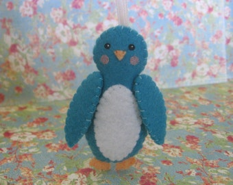 Teal Penguin Ornament