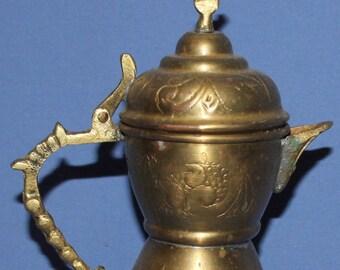 Vintage Hand Made Brass Tea Coffee Pot