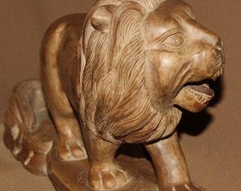 Vintage Hand Carving Wood Lion Figurine