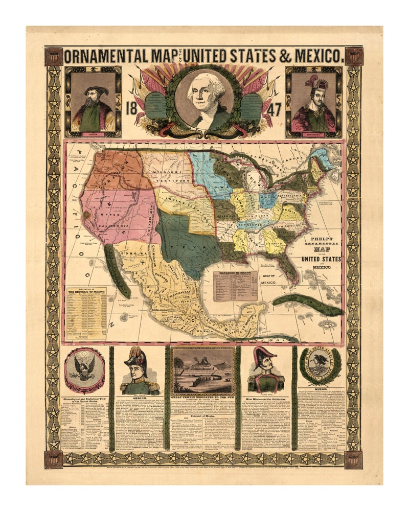 Ornamental Map Of The United States And Mexico Vintage Art - Us map 1847