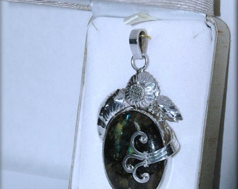 Spectrolite in Sterling Silver Pendant Hand Crafted Huge -  Over 40 ct Cabochon