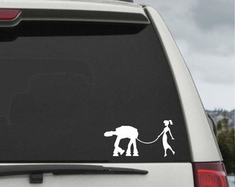 Lady Walking AT-AT Decal - Star Wars Car Decal - Star Wars Sticker