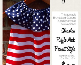 Patriotic Peasant Dress/ Red White Blue/ July 4th Holiday Dress
