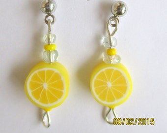 Lemon Earrings-Girls-clip on earrings-fruit earrings-posts-childrens-cute gifts for kids-Fruit jewelry-polymer clay-earrings-food jewelry-