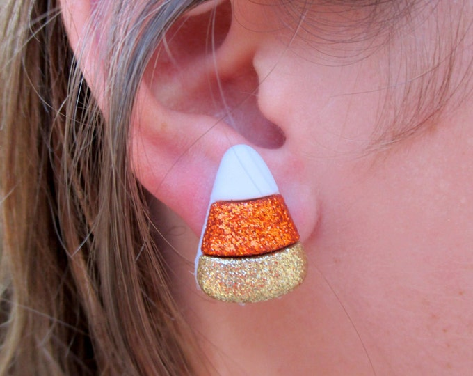 Candy corn earrings-Halloween jewelry-fall earrings-clip on earrings-sparkly candy studs-nickel free-kids-teens-girls-Fall party favors-cute