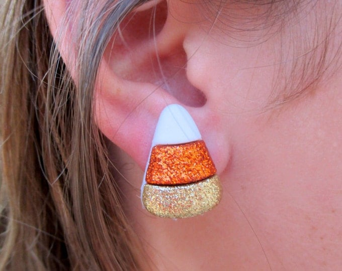 Candy corn earrings-Halloween jewelry-fall earrings-clip on earrings-sparkly candy studs-nickel free-kids-teens-girls-Fall party favors-cute