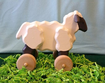Large Wooden Rolling Sheep with Optional Pull Leash for Toddlers and Kids