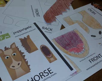 Horse Paper Bag Puppet - BLANK Coloring Version - Downloadable PDF Kid's Craft