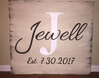 Wood Established/Family Sign, Hand Painted, White Washed, wood sign