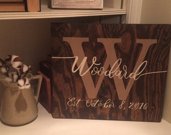 Established wedding sign, family sign. established sign, wood sign