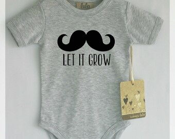 Let it grow mustache baby clothes. Adorable baby romper with mustache print. Modern baby clothes.