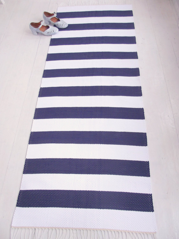 White And Navy Floor Runner Nautical Runner Rug White By
