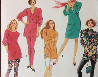 Simplicity 7513 - 1990s Easy Essentials Tunic with Deep V, Round, or Fold Over Collar, Pants, Shorts and Skirt -Size PT - XL