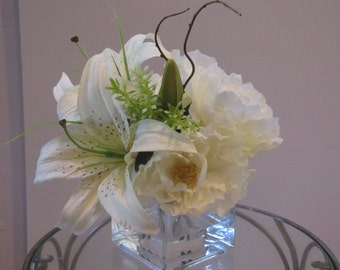 Silk flower arrangement-casablanca lily and white peony in square glass vase with faux water
