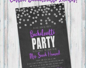 DIGITAL Glitter Purple/Teal/Green/Pink Bachelorette Invitation