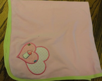 baby receiving blanket with with a heart applique