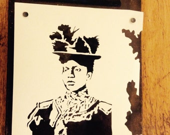 Victorian woman paper cutting on clip board