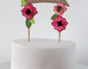 Rustic Banner Mr & Mrs cake topper, Custom, Kraft Cake Topper, Wedding Cake Topper, Personalized Cake Topper, Natural, Floral cake topper