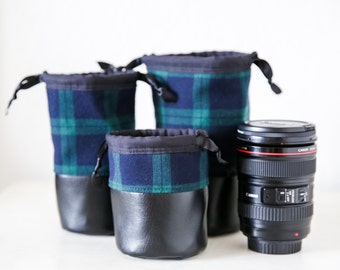 Drawstring Camera Lens Bag Pouch with Padding - Blackwatch Plaid Canon Nikon Sony Lens DSLR Camera Photographer Gift