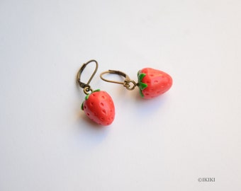 Strawberry Earrings, Polymer Clay Strawberry Earrings, Polymer Clay Fruit, Earrings, Mini Fruit Earrings, Fruit Jewelry