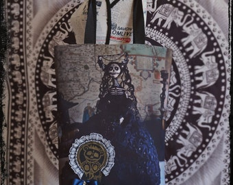 Gothic Christmas tote bag Dark Beauty: Noir. Handmade tote bag with art doll photo print, Day of The Dead, sugar skull.