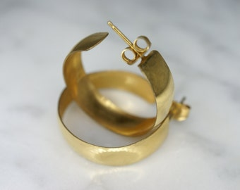 12k Yellow Gold Filled Hoop Post Earrings