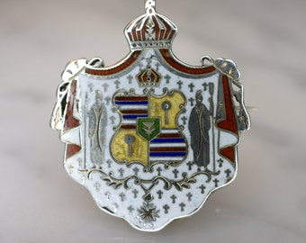 Kingdom of Hawai'i Coat of Arms Sterling and Enamel Pin
