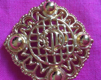 Vintage Christian Dior 1980's monogram filigree gold tone Brooch