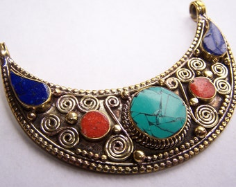Nepal, Nepalese, Brass, Lapis, Turquoise, Coral, Inlay pendant 74x50mm