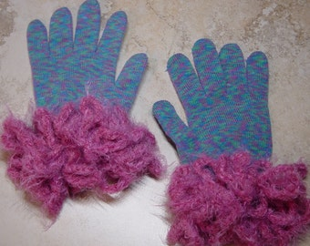 Pink & Blue Variegated Stretch Knit Gloves, Crochet Emebellished Pink Yarn Cuffs, Fancy Cuff Gloves, Costume Gloves, Gift for Her
