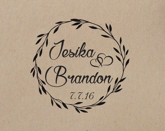 Wedding  Stamp Wreath  Initial  Personalized Wedding Stamp  Wedding Rubber Stamp Mounted with Wood Handle