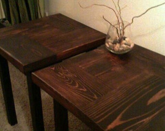 Pair of Butcher Block Accent Tables - Made to Order - several finishes available