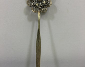 Hair Stick Pin Silver Miao Hill Tribe Filigree Flower Handmade Flower Hair Pin Stick Hair Silver Flower Hair Jewelry Unique