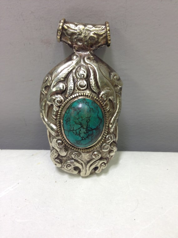Pendant  Silver Turquoise Silver Floral Pendant Handmade Tibet Pendant Turquoise Necklace Jewelry Silver Floral Unique  Statement