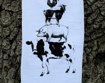 FARM ANIMAL STACK - Cow - Pig - Goat - Rooster - Chicken - Deluxe Flour Sack Towel - Screenprinted Kitchen Tea Towel