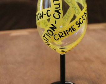 "Hand Painted Wine Glass - Holiday - Halloween -""Crime Scene"""