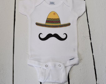 Sombrero and Mustache Cute Funny Baby One Piece