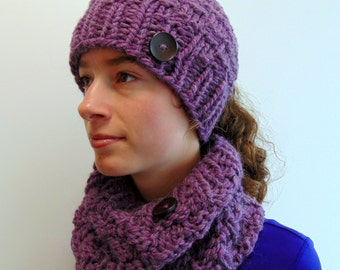Ponytail Hat and Cowl Gift Set - Ponytail Beanie - Gift for Her - Made in Alaska - Christmas Gift Under 50 - Alpaca Purple - Ready to Ship