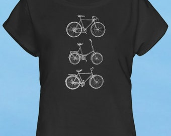 Bikes - hand screen printed discharge black womens t-shirt