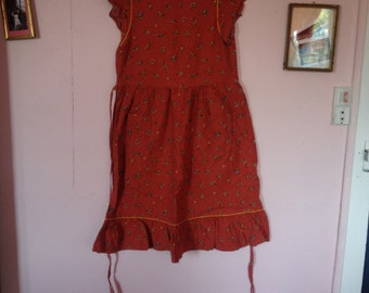 Rare! Vintage 50s ruffled print dress very good condition small