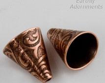 Fancy bead cap/cone, 12 x 9 mm in antique copper finish. Pkg of 2. B9-2191(e)