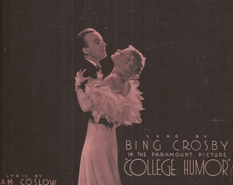 Learn to Croon, Vintage Sheet Music, Bing Crosby, Paramount Picture, College Humor, Jazz Nocturne, Pink and Black, Glamour, 1930s Music