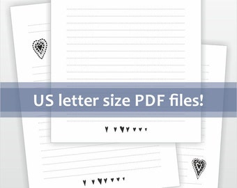 Printable lined letter writing paper. Cute black and white doodle hearts design. Digital download for letter size pdf file.