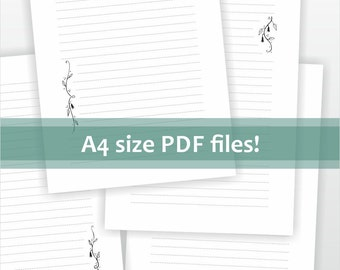 Download for A4 size letter writing paper. Printable pdf file - digital writing paper lined. Flower ornament - black and white design.